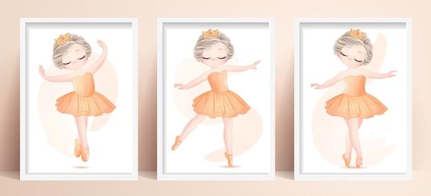 La ballerina sveglia della bambina ha messo con l'illustrazione dell'acquerello