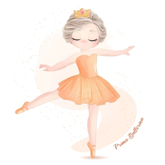 Ballerina sveglia della bambina con l'illustrazione dell'acquerello