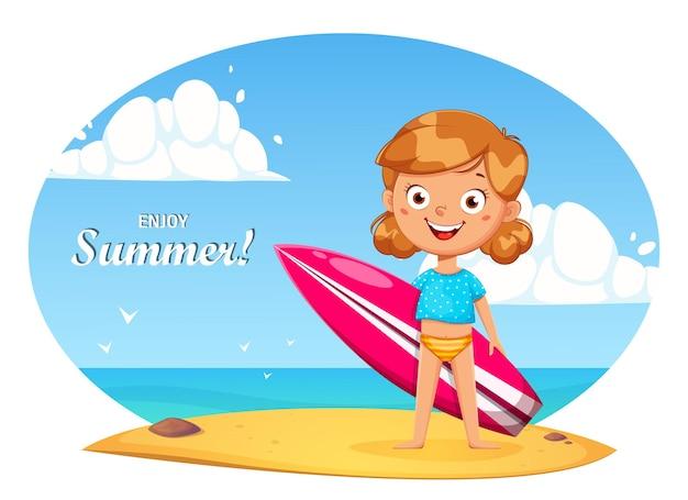 Personaggio dei cartoni animati di bambina carina con tavola da surf