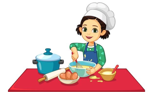 Bambina sveglia che cucina illustrazione