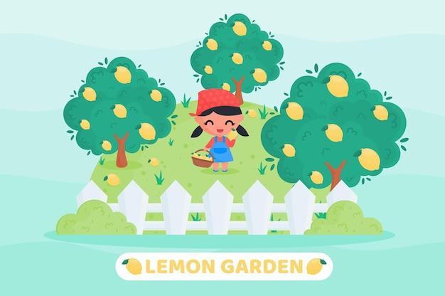Bambina carina in uniforme da contadino che raccoglie limoni nel frutteto