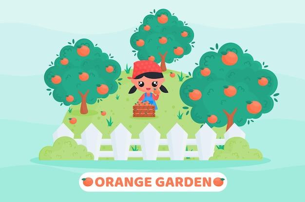 Bambina carina in uniforme da contadino che raccoglie arance nel frutteto
