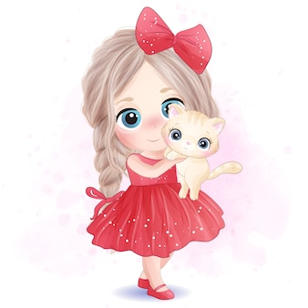 Bambina sveglia che abbraccia un'illustrazione del gattino