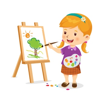 La bambina carina è felice di fare arte illustrazione vettoriale