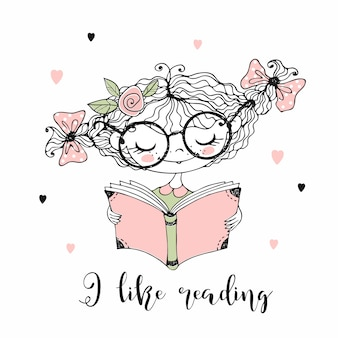 Una bambina carina sta leggendo un libro. mi piace leggere. stile doodle.