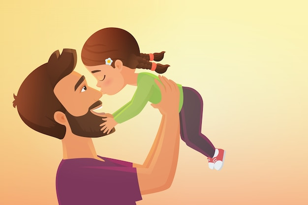 Il bambino sveglio della bambina bacia la sua illustrazione del fumetto del padre felice