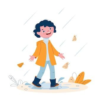 Bambina sveglia in un impermeabile in stivali di gomma sotto la pioggia. illustrazione vettoriale in stile cartone animato.
