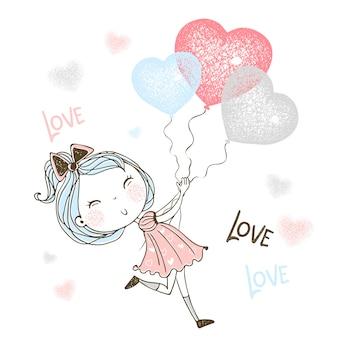 Una bambina carina corre dietro a palloncini a forma di cuore.