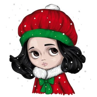 Bambina sveglia in un cappello e un maglione alla moda di inverno. concetto di inverno e natale