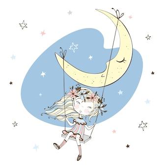 Bambina sveglia che oscilla su un'oscillazione sulla luna. Vettore Premium