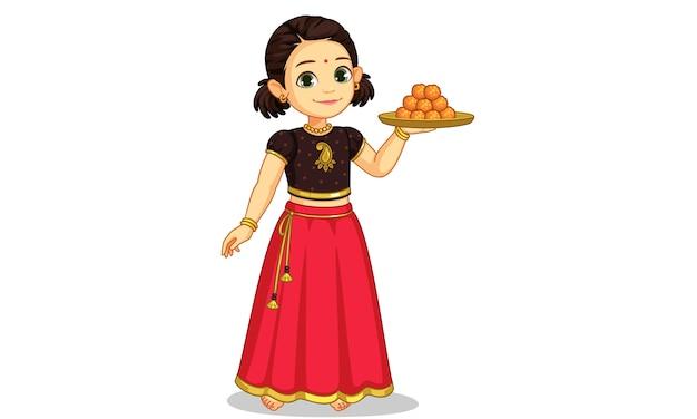Bambina sveglia nell'usura tradizionale che tiene un piatto dell'illustrazione dei dolci