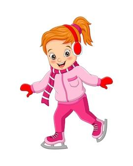 Bambina sveglia in vestiti di inverno che giocano pattinaggio sul ghiaccio