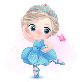 Bambina sveglia con l'illustrazione della ballerina