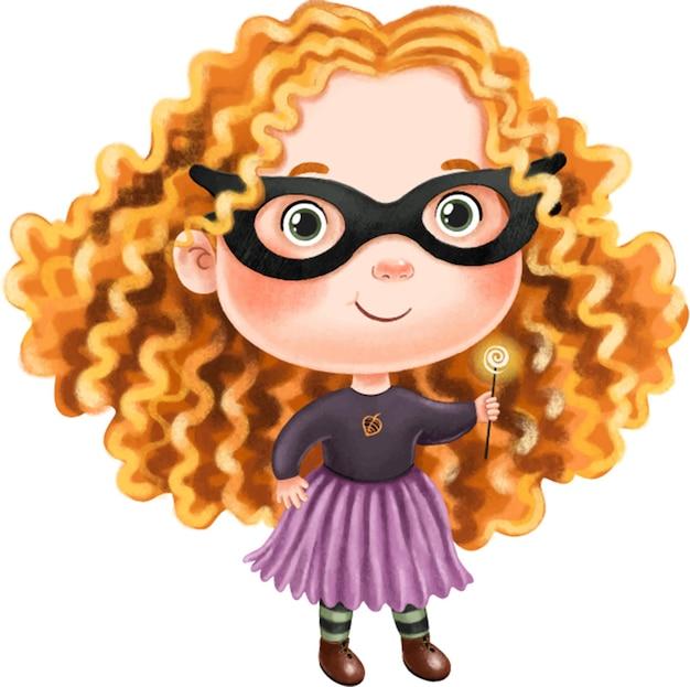 Bambina carina con capelli ricci lussureggianti con un vestito per halloween