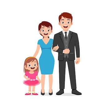 Bambina sveglia con mamma e papà insieme Vettore Premium