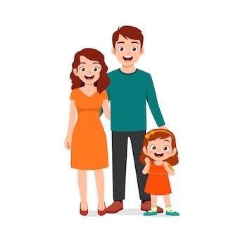 Bambina sveglia con mamma e papà insieme
