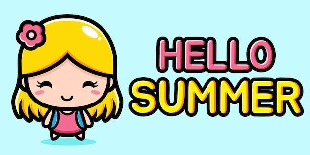 Bambina carina con banner di auguri di estate