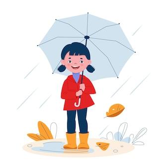 Bambina sveglia con un ombrello in stivali di gomma sotto la pioggia. illustrazione vettoriale in stile cartone animato.