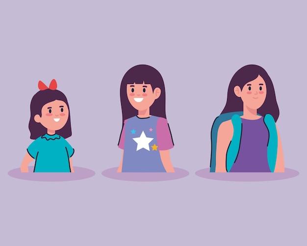 Caratteri di avatar di bambine sveglie