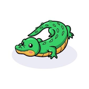 Simpatico cartone animato coccodrillo verde
