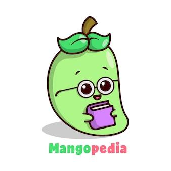 Carino mango verde con gli occhiali e portando un logo della mascotte dei cartoni animati del libro.