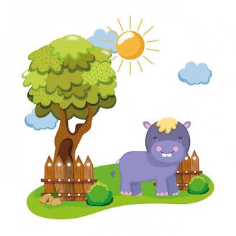 Simpatico e piccolo personaggio ippopotamo