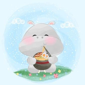 Piccolo ippopotamo sveglio che mangia l'illustrazione della tagliatella di ramen