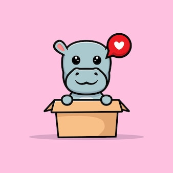 Simpatico piccolo ippopotamo all'interno del design della mascotte della scatola