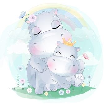 Carino piccolo ippopotamo madre e bambino