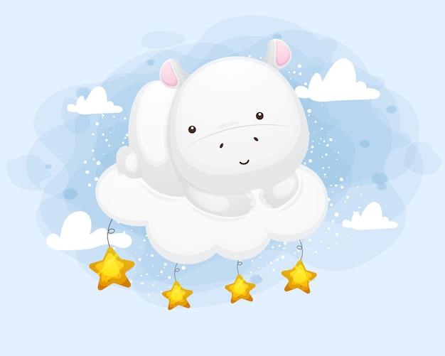 Carino piccolo ippopotamo seduto su una nuvola
