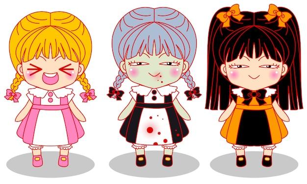 Cute little horror girls