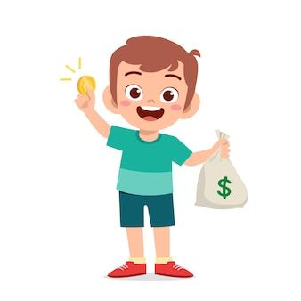 Il ragazzino sveglio porta un sacco di soldi e monete