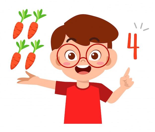Verdura di conteggio di numero di per la matematica di studio sveglio del ragazzo del bambino