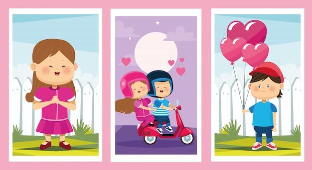Simpatici personaggi di gruppi di coppie di bambini piccoli