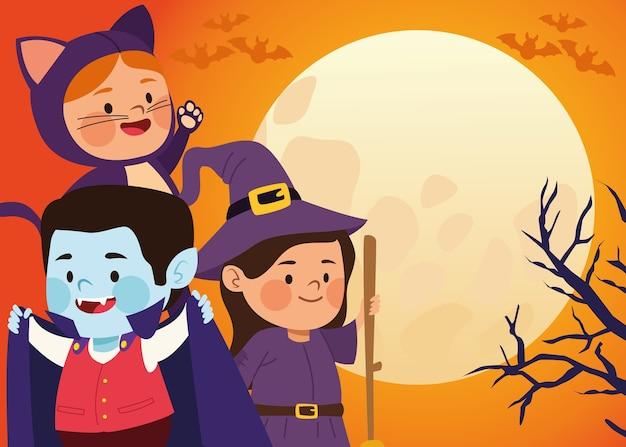 Bambini piccoli svegli vestiti come un gatto e una strega con dracula nella progettazione dell'illustrazione di vettore di scena della luna