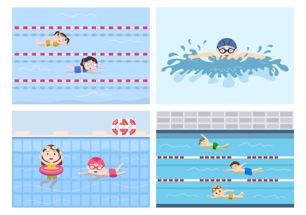 Cute little kids nuoto sfondo illustrazione vettoriale in stile cartone animato piatto. persone vestite in costume da bagno, nuotare in estate e svolgere attività acquatiche