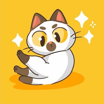 Carino piccolo gattino pulizia mascotte doodle illustrazione asset