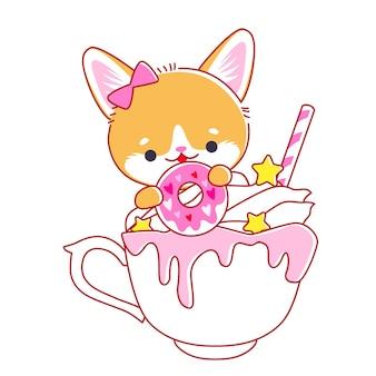 Simpatico gattino in tazza. stile kawaii