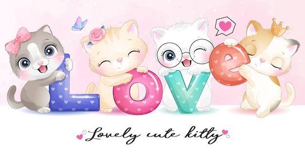 Piccolo gattino sveglio con l'illustrazione di alfabeto di amore