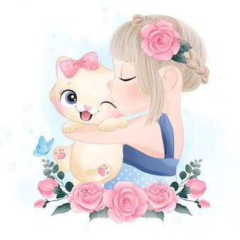Piccolo gattino sveglio con l'illustrazione dell'acquerello ragazza sveglia che bacia un piccolo gattino con l'illustrazione dell'acquerello