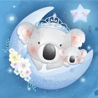 Carino piccolo koala madre e bambino Vettore Premium