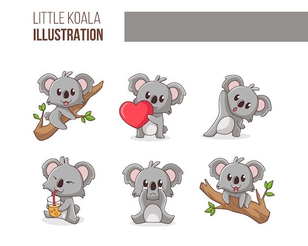 Insieme sveglio dell'illustrazione del piccolo koala