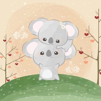 Simpatici piccoli koala che si guardano l'un l'altro