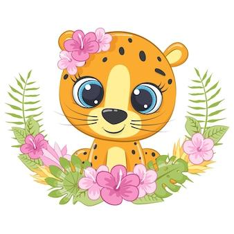 Carino piccolo leopardo con ghirlanda di fiori hawaii