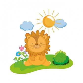 Simpatico e piccolo personaggio di leone