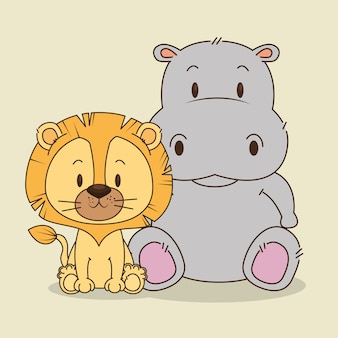 Simpatici e piccoli personaggi di leone e ippopotamo