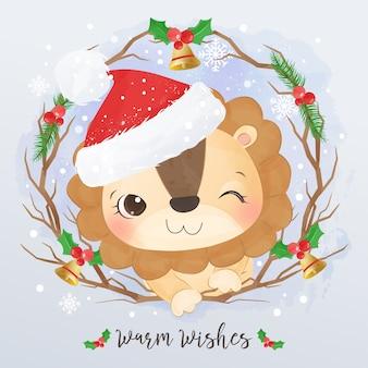 Illustrazione sveglia del piccolo leone per la cartolina d'auguri di natale