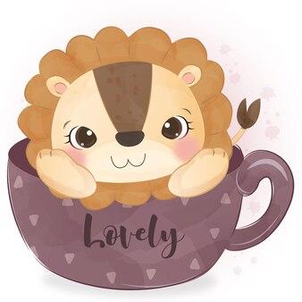 Piccolo leone sveglio che si siede sull'illustrazione della tazza