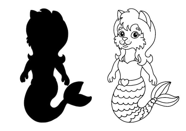 Simpatico gatto sirenetta pagina del libro da colorare per bambini