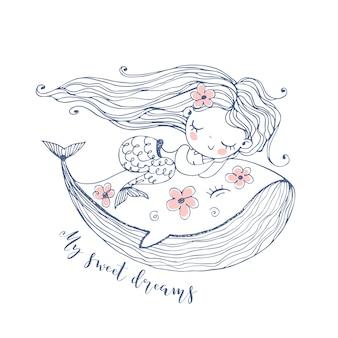 Carina sirenetta che dorme dolcemente su una balena. blu.